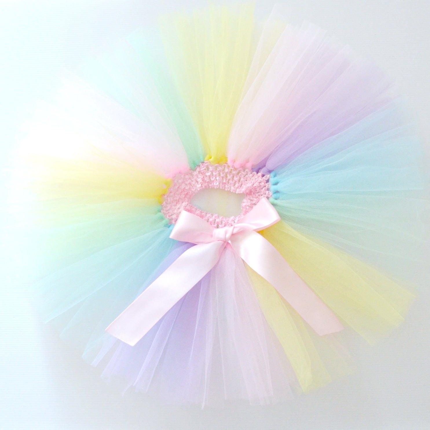 Baby Girl Pastel Rainbow Tutu 1st First Birthday Or Cake