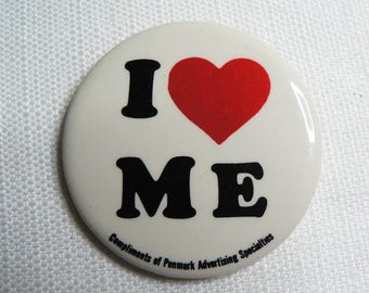 Vintage 80s I Heart / Love Me (or Maine) - Pin / Button / Badge