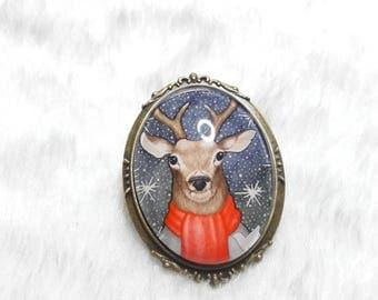 Large oval brooch winter reindeer