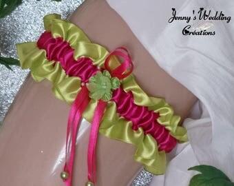 Garter designer model Melina (lime and fuchsia)