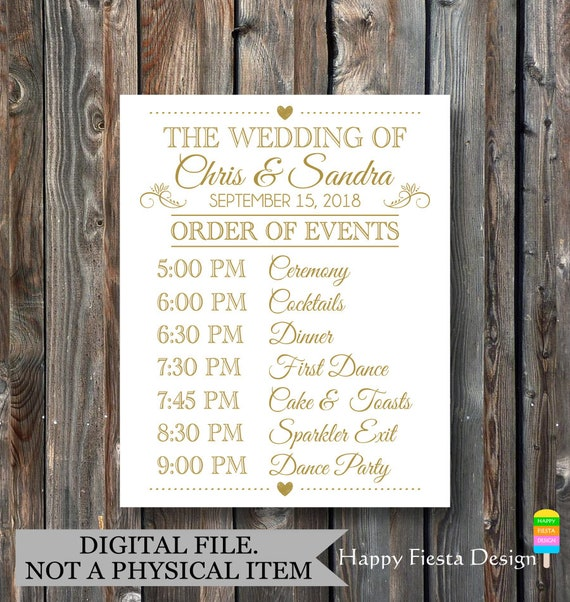 PRINTABLE Order Of Events Sign-Wedding Day Schedule-Wedding Day ...