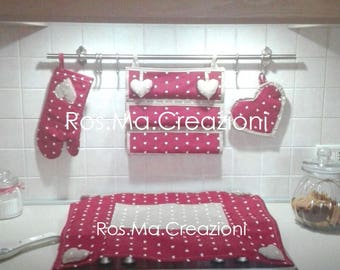 Coordinated Cooker Cover, Kitchen roll holders, pot holder, hand-made Glove