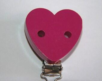 Pacifier clip wooden heart