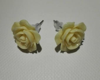 Clear 10mm yellow rose shaped Stud Earrings