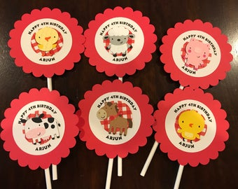 12 Boy Farm Cupcake Toppers with message