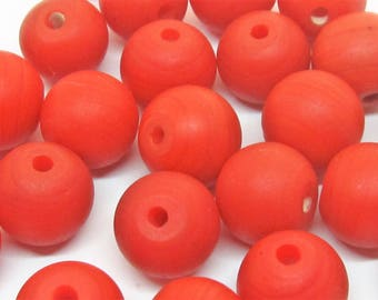 """Loose beads. 26 Vintage glass African trade beads or """"coral"""" beads. 11mm x 12mm"""