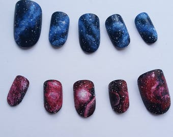 Red and Blue Galaxy Nebula Space Nails
