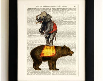 ART PRINT on old antique book page - Circus Bear and Elephant, Vintage Upcycled Wall Art Print, Encyclopaedia Dictionary Page, Fab Gift!