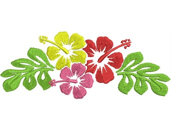 Hawaiian Flower Frame  embroidery  design, summer hibiscus flower, beach, towel, sea clothing and monogramming