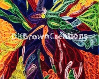 Digital download - bright colorful leaves - mosaic quilled digital art - printable art - gift for all - quilled wall art -gardeners art
