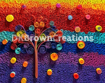 Gumdrop tree mosaic quilled digital art - printable art - gumdrop tree abstract quilling - gift for all - quilled wall art -nursery wall art