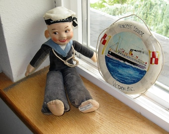 "1930's Norah Wellings 11"" Sailor Doll souvenir of Victoria B.C. and the Ship, the Princess Louise, Hand Painted souvenir life preserver"