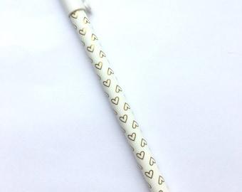 Gold heart gel pen