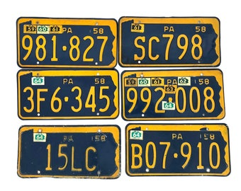 1958 Pennsylvania License Plates - Penn PA - 1950s / 50 / 58 - Man Cave Bar Industrial Rustic Wall Decor Yellow Blue - Low Number Crafting