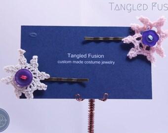 Vintage Crochet Button Hair Pin Pair