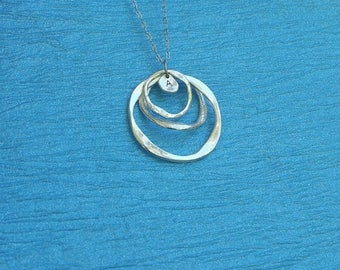 4th JULY SALE NEW Silver Triple Circle and Initial Pendant Necklace, round pendant, Gift for her, Initial pendant, pitted silver pendant, sw