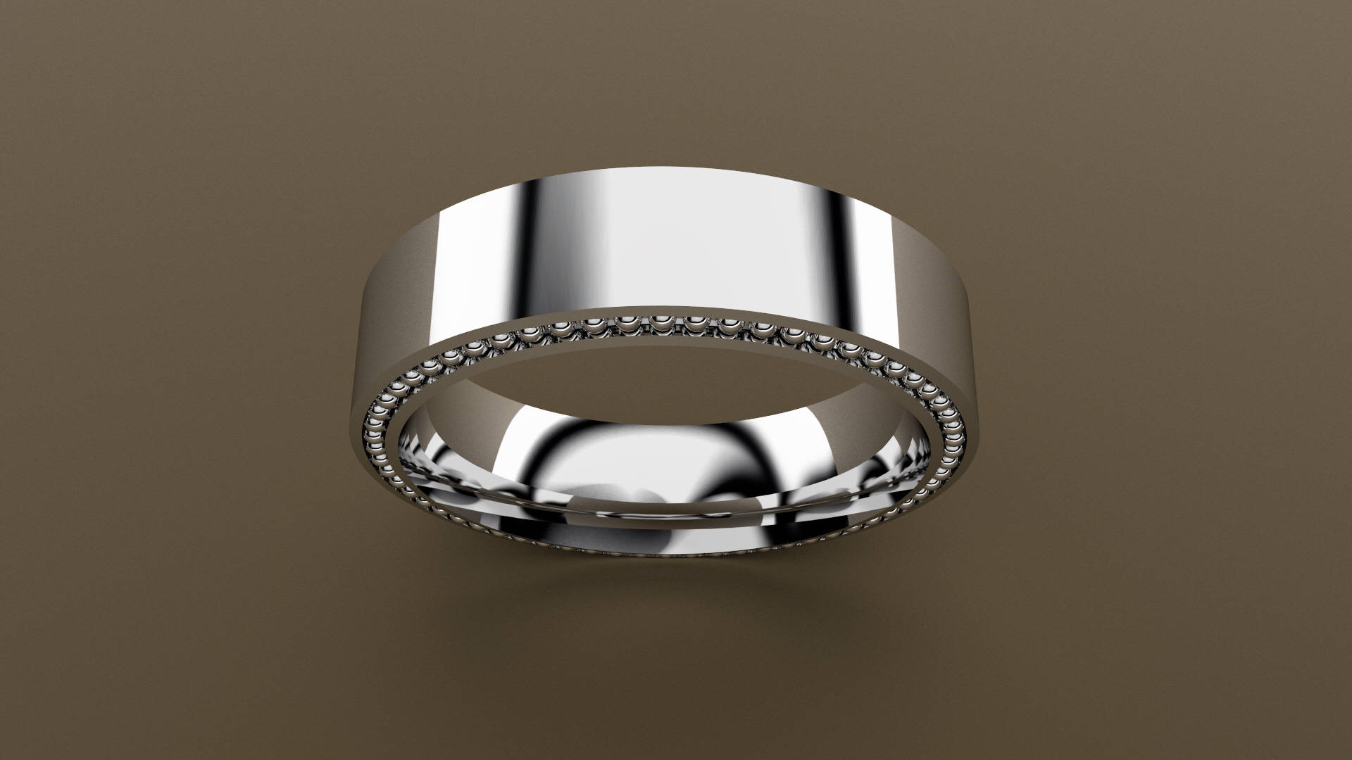 White Gold 6mm Mens Wedding Band Recessed Beading 14kt White Gold