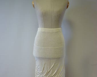 Special price. Handmade off-white short linen skirt, M size.