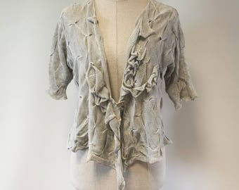 Artsy silver light grey linen cardigan, M size.  Made of pure linen.