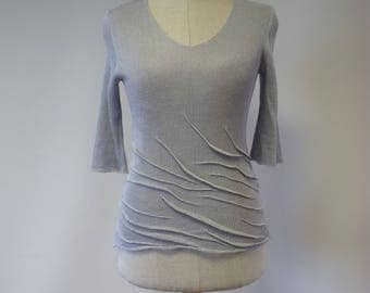 Special price. Handmade light grey linen blouse, S/M size.