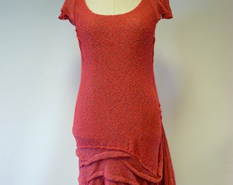 Handmade coral coloured boucle tunic, L size.