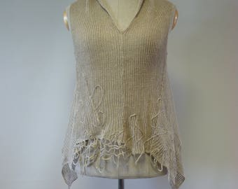 Special price. Summer asymmetrical taupe knitted top, L size. Made of pure linen.