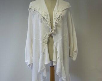 Special price. Avant garde white linen cardigan, XL size.