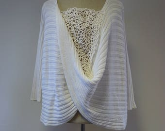 White cotton sweater with amazing decoration, XL size. Only one sample.