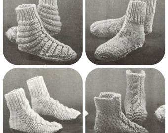 vintage Slippers Knitting pattern in PDF instant download version , e-pattern