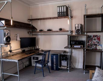 Reclaimed Scaffolding and Pipe Workstation - Bespoke Desk and Shelving with Wired in Lighting.