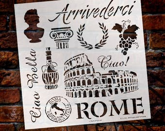 "All Roads Lead to Rome Stencil - 12"" x 12"" - STCL549 - by StudioR12"