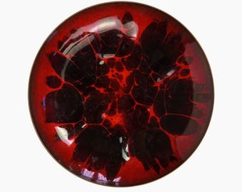 Win Ng Enamel Copper Plate Large Size Mid Century Modern Art Abstract Design Organic Burgundy Red Maroon