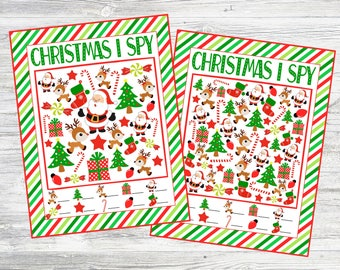 Christmas I Spy Printable Games. 5 Different Sheets Easier to Harder. Instant Digital Download. Christmas Game, Activity, Party Game