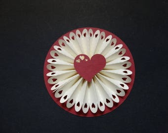 Rosette - theme Burgundy and ivory heart doily