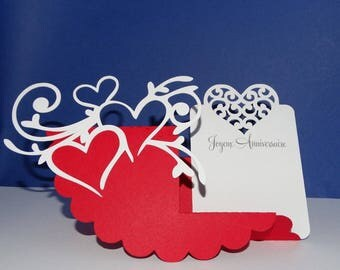 Heart circle tag birthday card