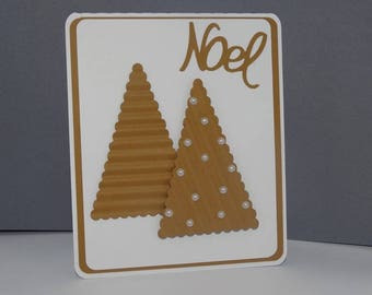 Christmas card tree embossed gingerbread