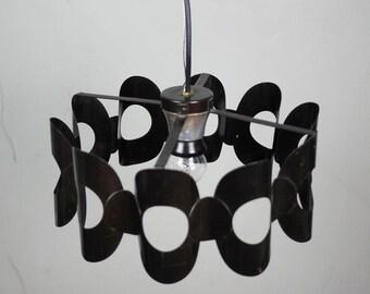 RETRO CEILING LAMP // Ceiling Light Pendant // Brown Scnadinavian sixties pattern.