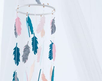 Blue Pink Mobile - Feather Mobile - Dream Catcher Mobile - Boho Mobile - Baby Mobile - Feather Nursery Decor - Baby Shower Gift