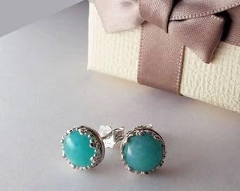 925 silver earrings with amazonite diameter 8 mm