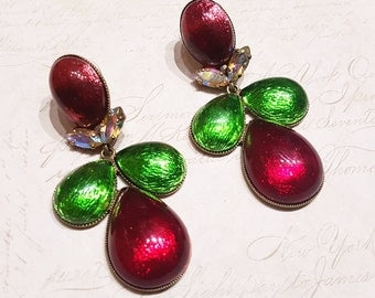 Frangos Red Green AB Earrings Foil Glass