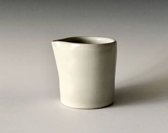 Modern handmade small pottery creamer wheel thrown with white gloss glaze Haight Pottery Company