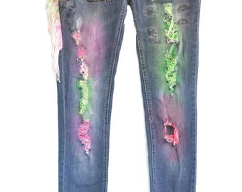 Punk Icons, spray painted, Embellished and Fringed Jeans, Junior Size 7, Punk Rock, Sid and Nancy