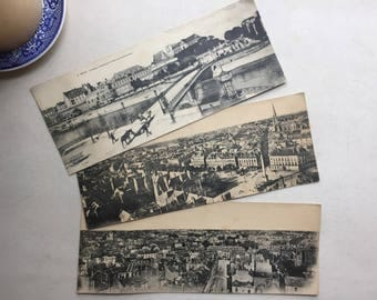 3 Vintage French panorama postcards - Nantes, France Brittany region Saint Clement - blank paper ephemera