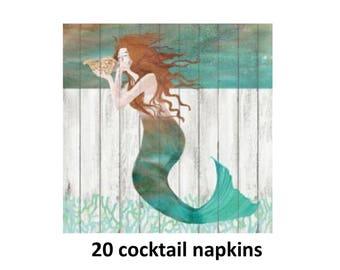 mermaid cocktail napkins, nautical party decorations, beverage napkin, beach wedding, rustic coastal, lake house, summer, seashell, mermaids