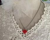 Vintage red german glass necklace