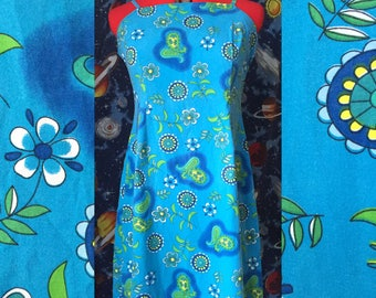 90's blue floral and paisley spaghetti strap dress