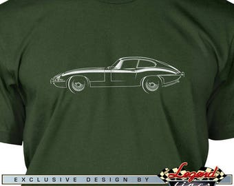 Jaguar E Type Coupe T-Shirt for Men - Lights of Art - Multiple colors available, Size: S - 3XL, Great British Classic Car Gift, Legend Lines