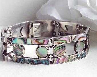 Unique Silver Bracelet, Sterling Silver Abalone Shell Bracelet, Vintage Mexican Silver Bracelet, Sterling Silver Bracelet, Vintage Jewelry