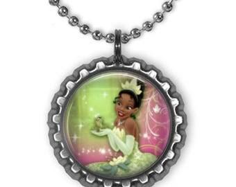 Disney Princess TIANA Princess & the Frog 3D Bottle Cap Charm Necklace #2