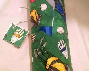 Golf wine tote, gift for him or her, birthday sports bag, wine bottle cover, fully lined, gift tag included